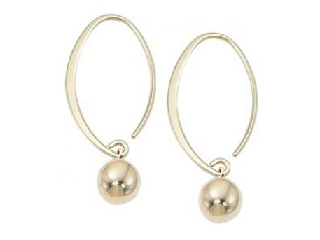 Carla Corporation - 14 Karat Gold Sweeping Ball Stud Hoops by Carla Corporation