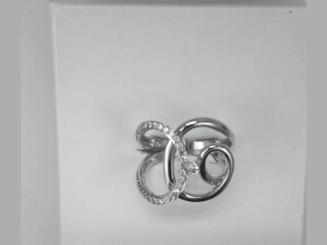 14k White Gold and Diamonds Swirl Ring by Madison L