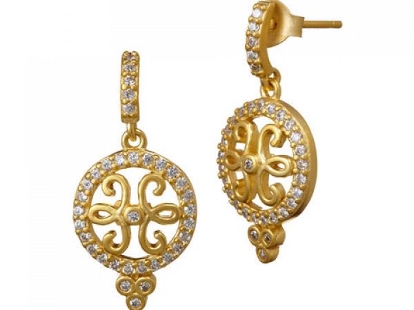 Frieda Rothman 14k Yellow Gold Plated Drop Earring by Freida Rothman