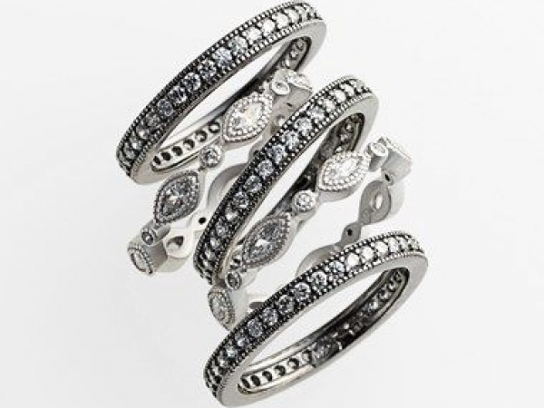 Sterling Silver and Black Vermeil Stack Rings by Freida Rothman