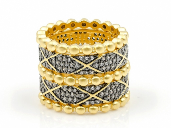 Contemporary Art Deco Stack Rings by Freida Rothman