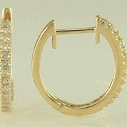 14k Yellow Gold Diamond Hoop Earrings by Madison L