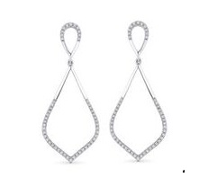 14k White Gold Teardrop Diamond Earrings by Madison L