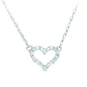 14k White Gold Petite Diamond Heart Necklace by Madison L