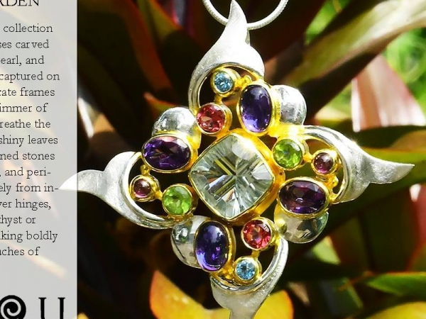 Sterling Silver and 22k Vermeil Multi Gemstone Necklace by Michou
