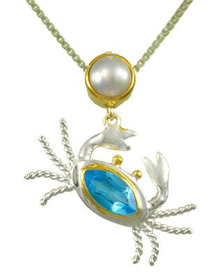 Sterling Silver, Blue Topaz and Pearl Crab Necklace by Michou