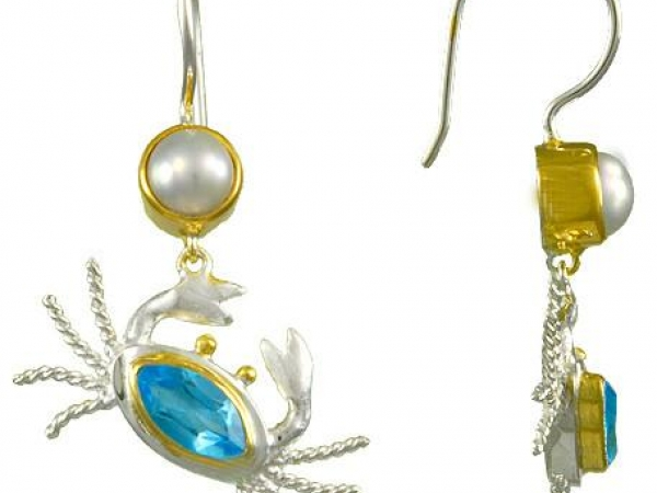 Blue Topaz and Pearl Crab Earrings by Michou