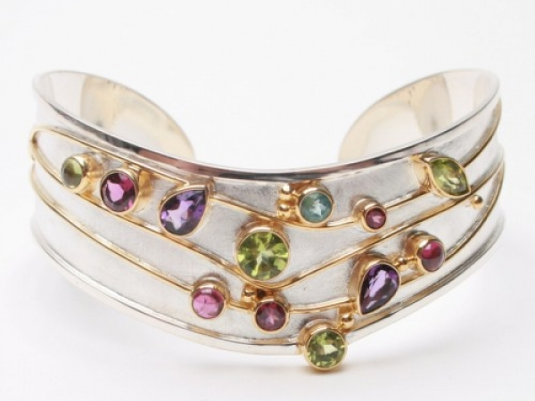 Sterling Silver and Multi Gemstone Cuff Bracelet by Michou