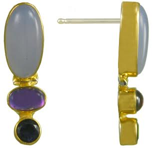 Sterling Silver and 22k Vermeil Earring by Michou