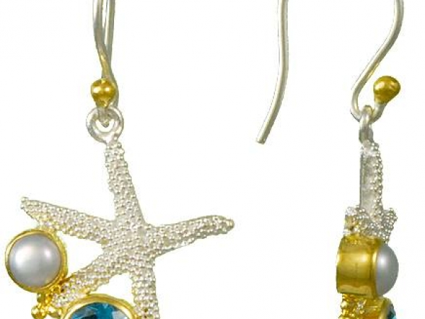 Sterling Silver, Blue Topaz and Pearl Starfish Earrings by Michou
