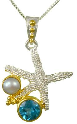Sterling Silver and Vermeil Starfish Necklace by Michou